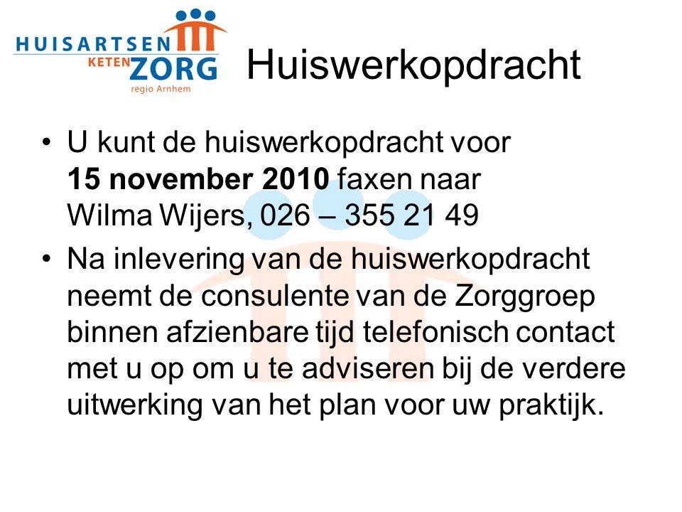 Huiswerkopdracht U kunt de huiswerkopdracht voor 15 november 2010 faxen naar Wilma Wijers, 026 – 355 21 49 Na inlevering van de huiswerkopdracht neemt de consulente van de Zorggroep binnen afzienbare tijd telefonisch contact met u op om u te adviseren bij de verdere uitwerking van het plan voor uw praktijk.