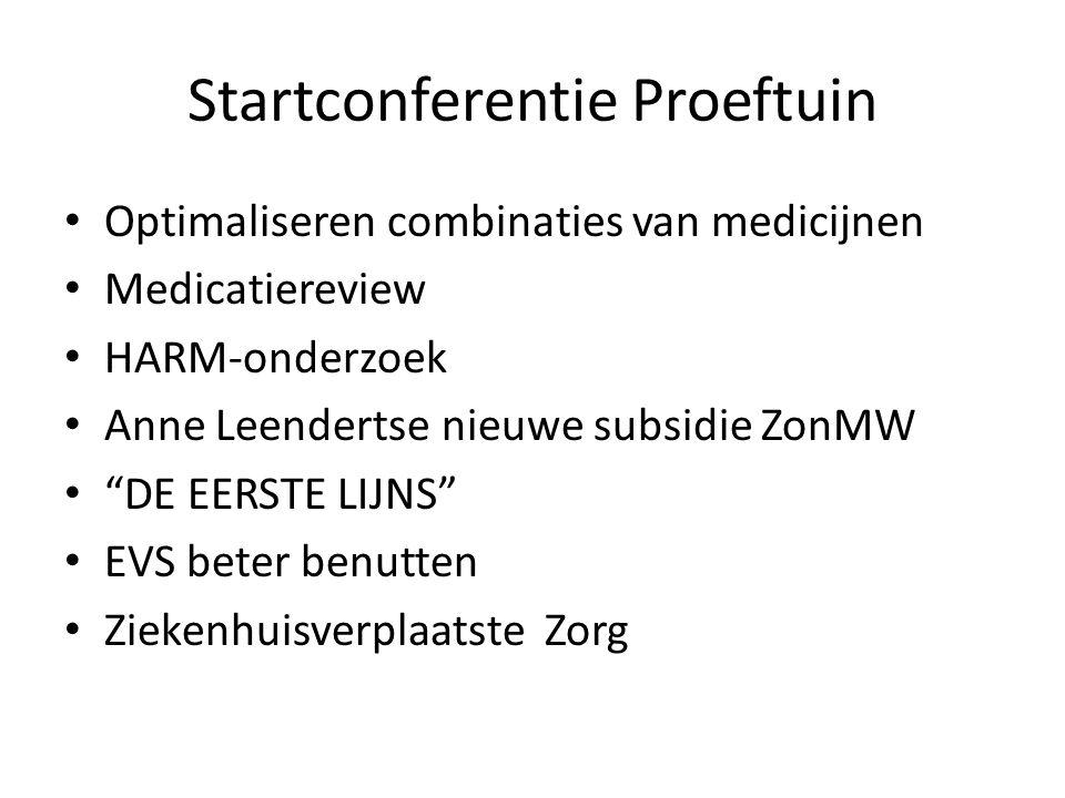 """Startconferentie Proeftuin Optimaliseren combinaties van medicijnen Medicatiereview HARM-onderzoek Anne Leendertse nieuwe subsidie ZonMW """"DE EERSTE LI"""