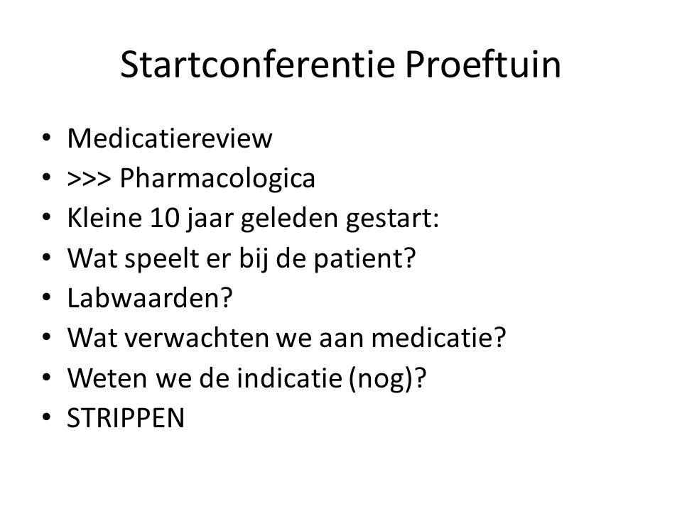 Startconferentie Proeftuin Medicatiereview >>> Pharmacologica Kleine 10 jaar geleden gestart: Wat speelt er bij de patient? Labwaarden? Wat verwachten