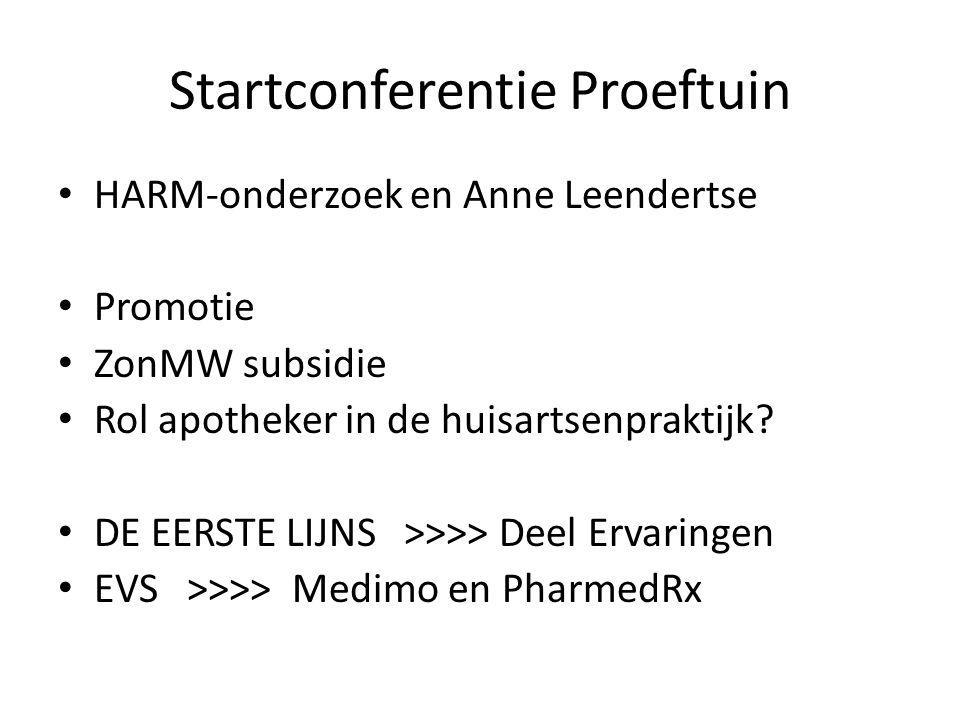 Startconferentie Proeftuin HARM-onderzoek en Anne Leendertse Promotie ZonMW subsidie Rol apotheker in de huisartsenpraktijk? DE EERSTE LIJNS >>>> Deel
