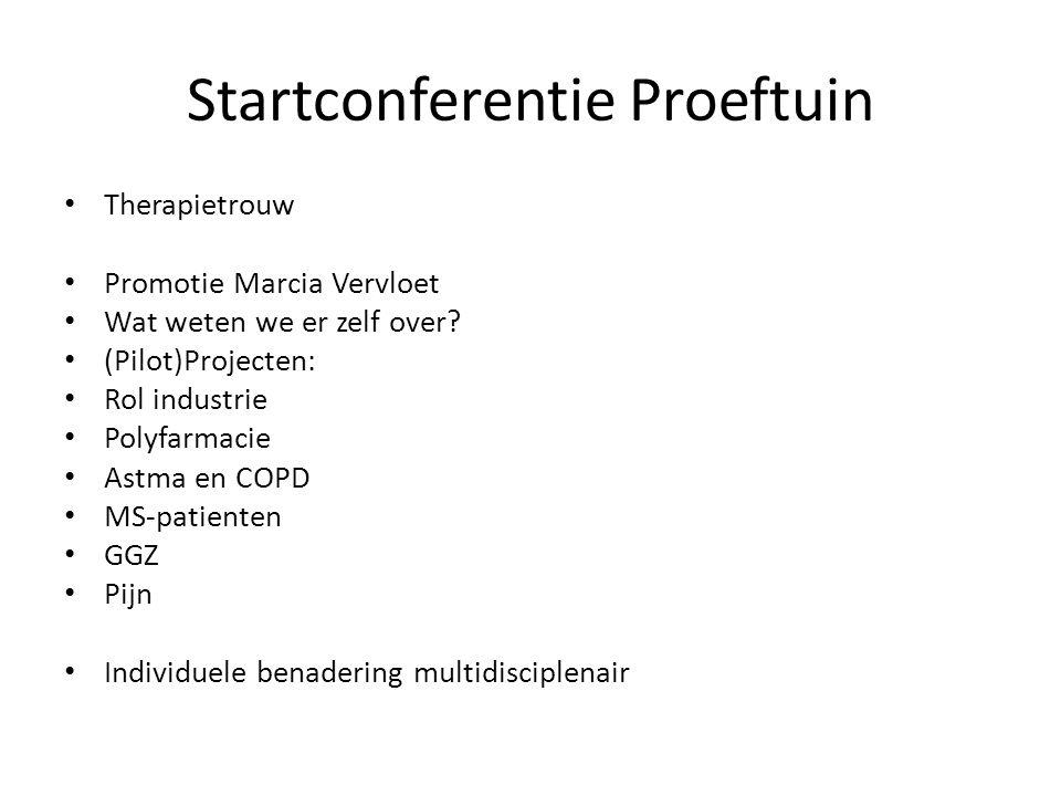 Startconferentie Proeftuin Therapietrouw Promotie Marcia Vervloet Wat weten we er zelf over? (Pilot)Projecten: Rol industrie Polyfarmacie Astma en COP