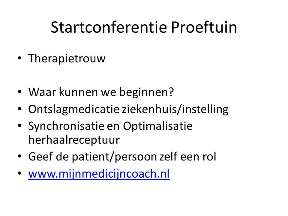 Startconferentie Proeftuin Therapietrouw Waar kunnen we beginnen? Ontslagmedicatie ziekenhuis/instelling Synchronisatie en Optimalisatie herhaalrecept