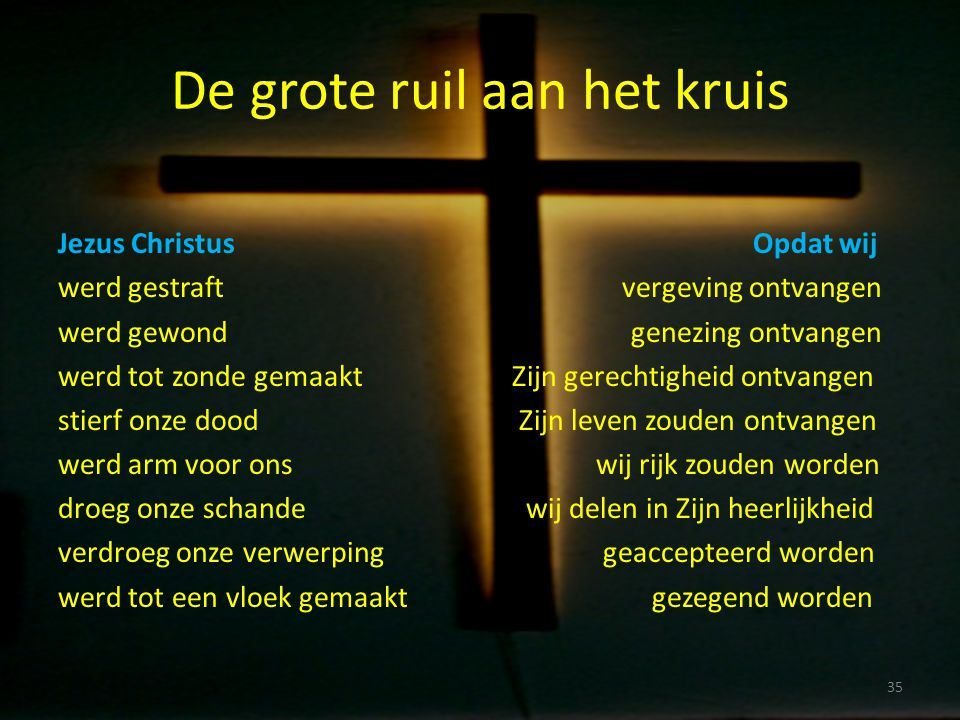 De grote ruil aan het kruis Jezus Christus Opdat wij werd gestraft vergeving ontvangen werd gewond genezing ontvangen werd tot zonde gemaakt Zijn gere