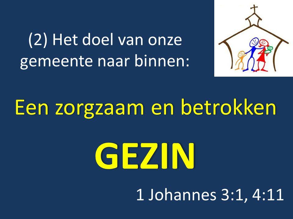 (2) Het doel van onze gemeente naar binnen: Een zorgzaam en betrokkenEen zorgzaam en betrokkenGEZIN 1 Johannes 3:1, 4:11