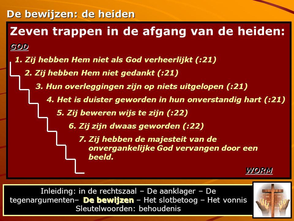 Zeven trappen in de afgang van de heiden:GOD 1. Zij hebben Hem niet als God verheerlijkt (:21) 2. Zij hebben Hem niet gedankt (:21) 3. Hun overlegging