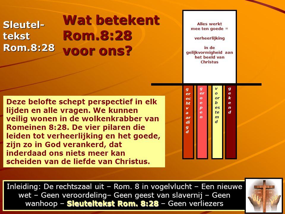 Sleuteltekst Rom. 8:28 Inleiding: De rechtszaal uit – Rom. 8 in vogelvlucht – Een nieuwe wet – Geen veroordeling– Geen geest van slavernij – Geen wanh