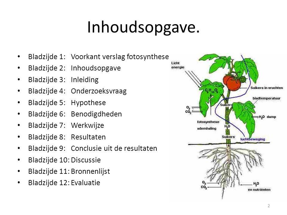Inhoudsopgave. Bladzijde 1:Voorkant verslag fotosynthese Bladzijde 2:Inhoudsopgave Bladzijde 3:Inleiding Bladzijde 4:Onderzoeksvraag Bladzijde 5:Hypot