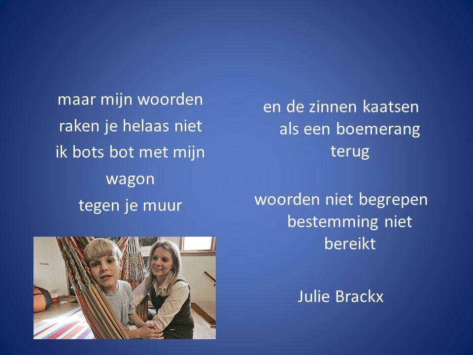 en de zinnen kaatsen als een boemerang terug woorden niet begrepen bestemming niet bereikt Julie Brackx maar mijn woorden raken je helaas niet ik bots