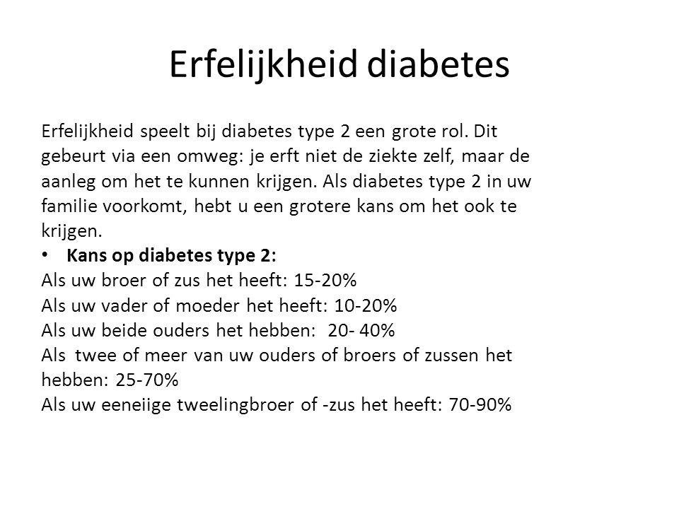 Erfelijkheid diabetes Erfelijkheid speelt bij diabetes type 2 een grote rol. Dit gebeurt via een omweg: je erft niet de ziekte zelf, maar de aanleg om