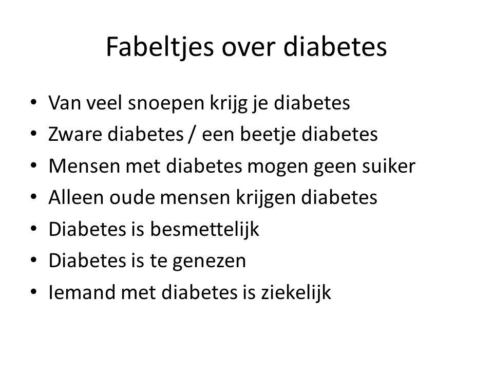 Fabeltjes over diabetes Van veel snoepen krijg je diabetes Zware diabetes / een beetje diabetes Mensen met diabetes mogen geen suiker Alleen oude mens