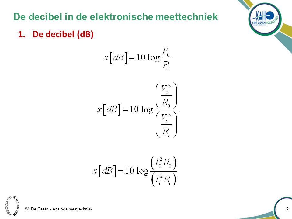 W. De Geest - Analoge meettechniek 22 De decibel in de elektronische meettechniek 1.De decibel (dB)
