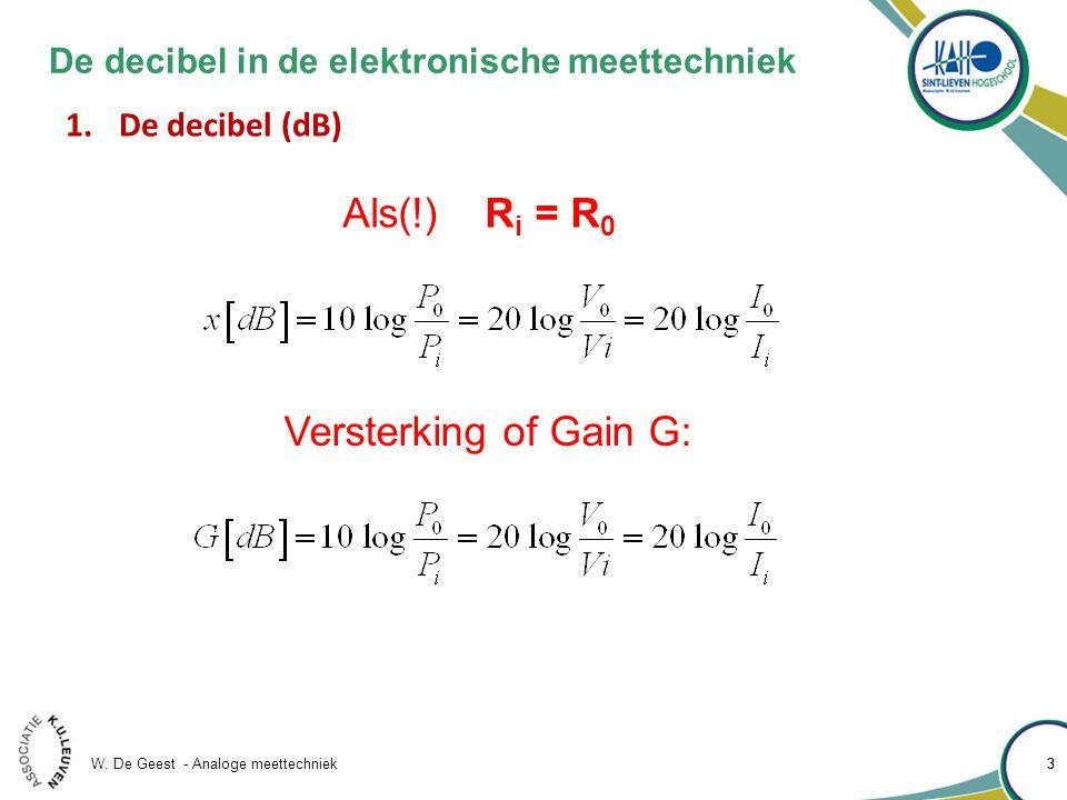 W. De Geest - Analoge meettechniek 33 De decibel in de elektronische meettechniek 1.De decibel (dB) Als(!) R i = R 0 Versterking of Gain G: