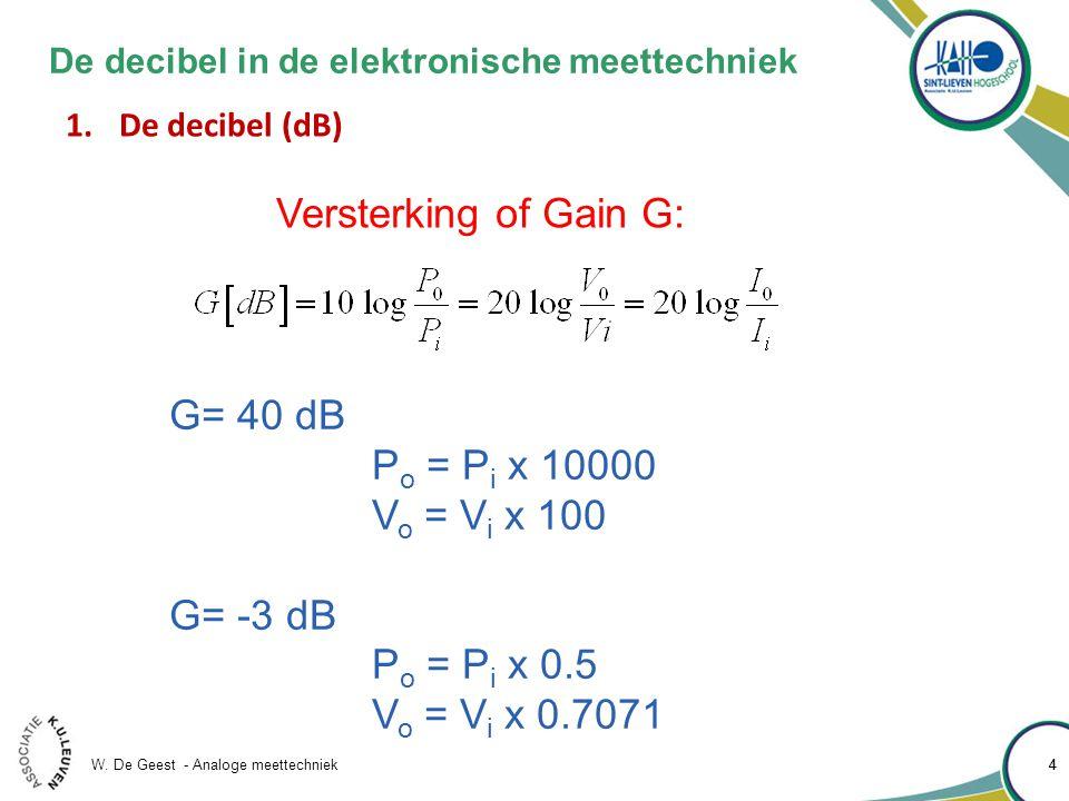 W. De Geest - Analoge meettechniek 44 De decibel in de elektronische meettechniek 1.De decibel (dB) Versterking of Gain G: G= 40 dB P o = P i x 10000