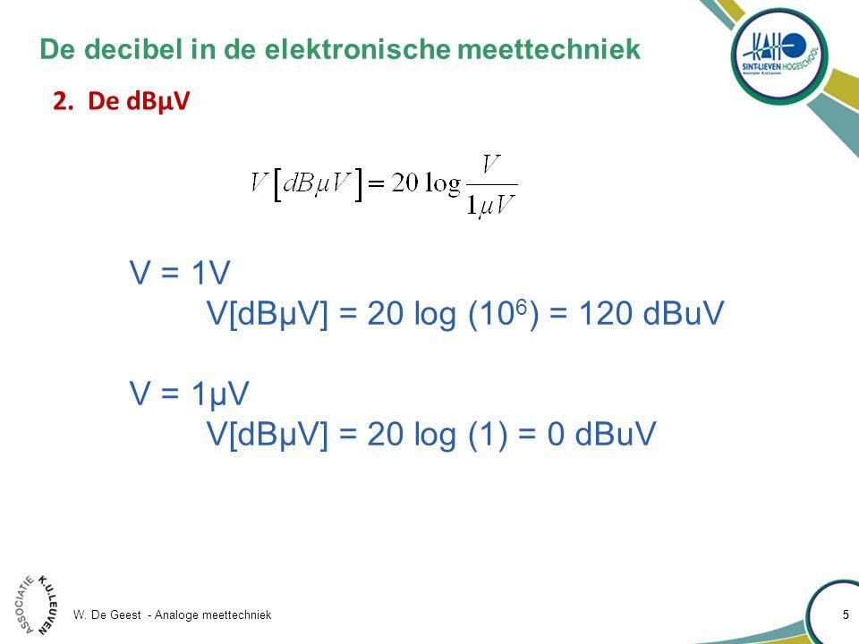 W. De Geest - Analoge meettechniek 55 De decibel in de elektronische meettechniek 2.