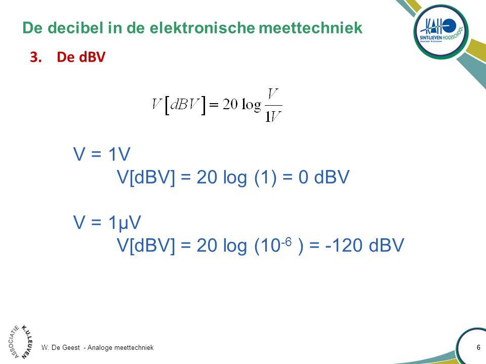W. De Geest - Analoge meettechniek 66 De decibel in de elektronische meettechniek 3.