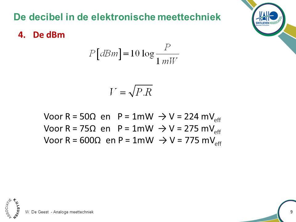 W. De Geest - Analoge meettechniek 99 De decibel in de elektronische meettechniek 4.De dBm Voor R = 50Ω en P = 1mW → V = 224 mV eff Voor R = 75Ω en P