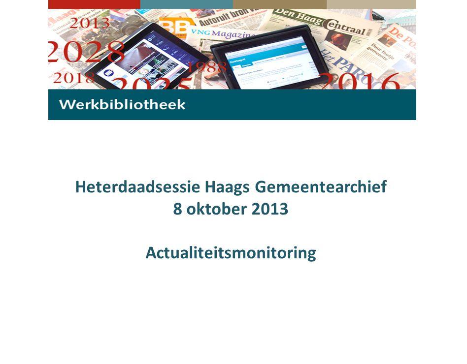 Onderdeel van de Bestuursdienst, directie Haags Gemeentearchief (HGA) Centraal punt voor (vak)informatie op alle gemeentelijke beleidsterreinen Klanten:  Het gemeentebestuur  De medewerkers van alle gemeentelijke diensten.