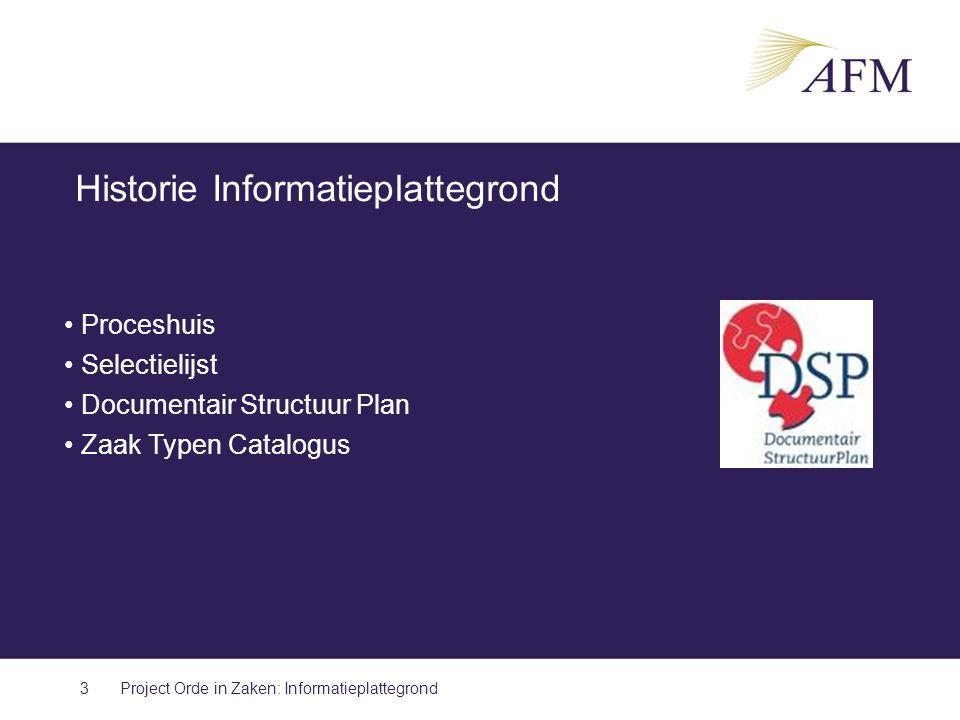 Historie Informatieplattegrond 3 Proceshuis Selectielijst Documentair Structuur Plan Zaak Typen Catalogus Project Orde in Zaken: Informatieplattegrond