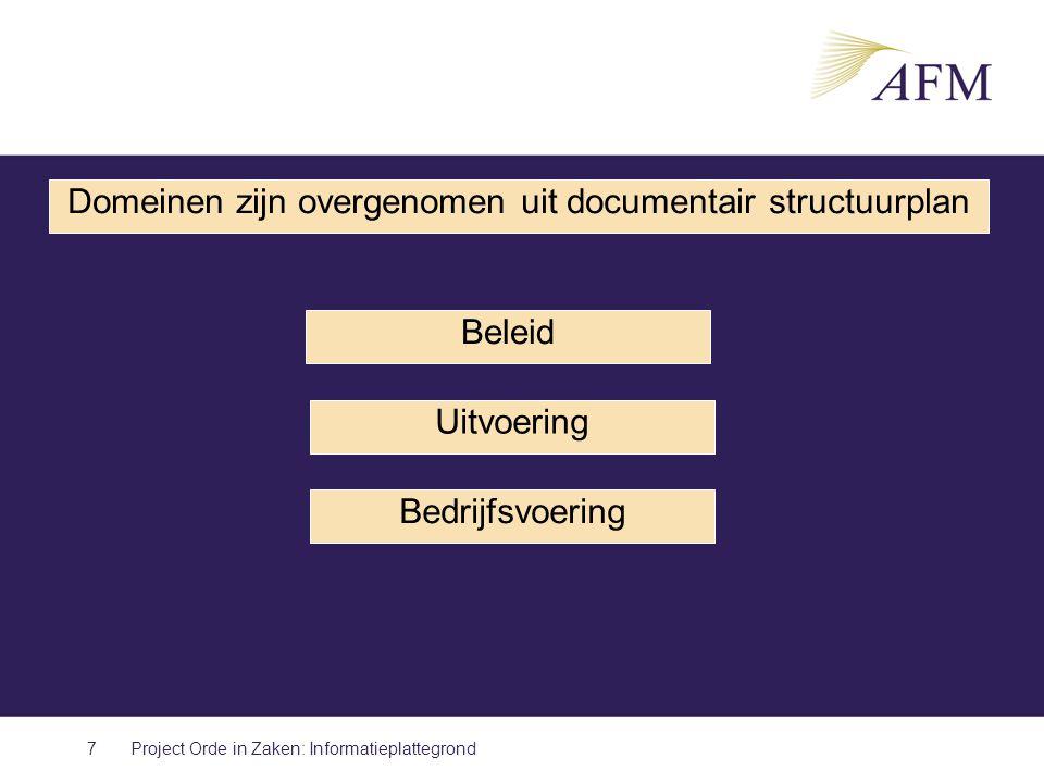 7 Domeinen zijn overgenomen uit documentair structuurplan Beleid Uitvoering Bedrijfsvoering Project Orde in Zaken: Informatieplattegrond