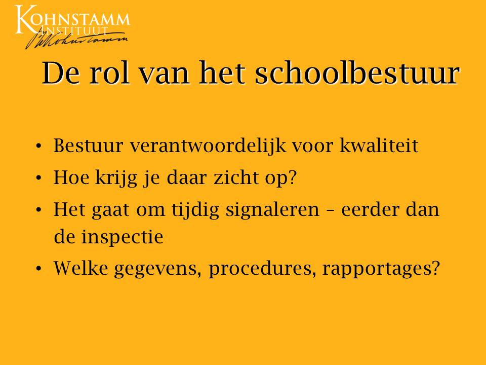 De rol van het schoolbestuur Bestuur verantwoordelijk voor kwaliteit Hoe krijg je daar zicht op.