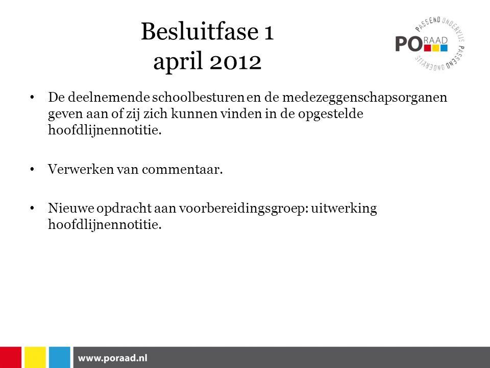 Besluitfase 1 april 2012 De deelnemende schoolbesturen en de medezeggenschapsorganen geven aan of zij zich kunnen vinden in de opgestelde hoofdlijnennotitie.