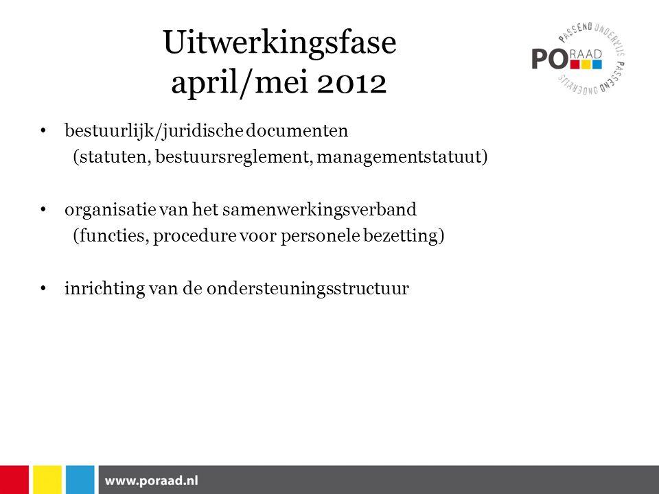 Uitwerkingsfase april/mei 2012 bestuurlijk/juridische documenten (statuten, bestuursreglement, managementstatuut) organisatie van het samenwerkingsverband (functies, procedure voor personele bezetting) inrichting van de ondersteuningsstructuur