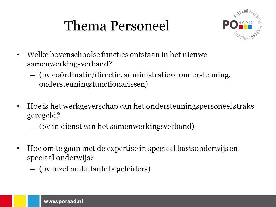 Thema Personeel Welke bovenschoolse functies ontstaan in het nieuwe samenwerkingsverband.