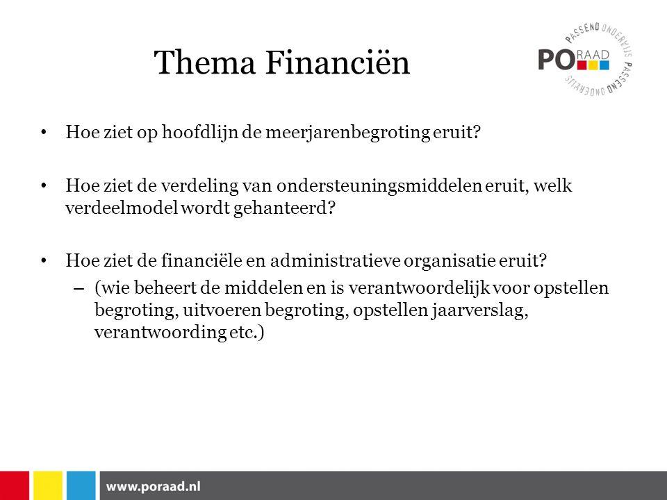 Thema Financiën Hoe ziet op hoofdlijn de meerjarenbegroting eruit.