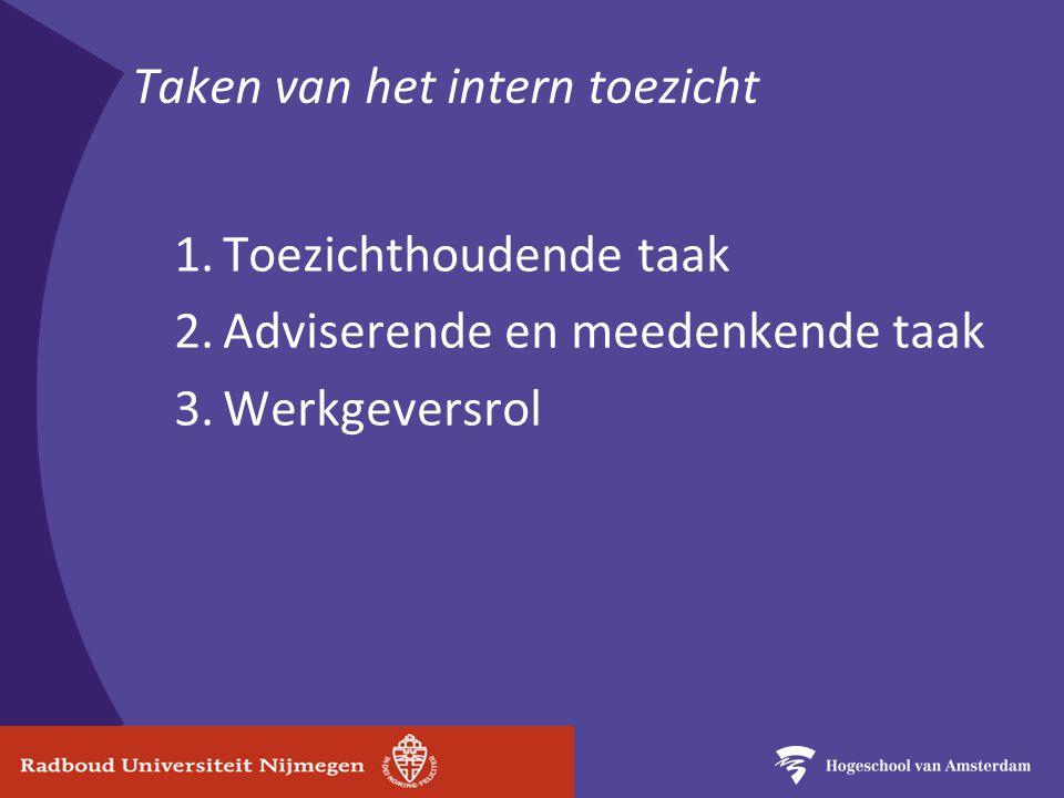 Taken van het intern toezicht 1.Toezichthoudende taak 2.Adviserende en meedenkende taak 3.Werkgeversrol