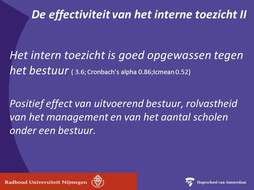De effectiviteit van het interne toezicht II Het intern toezicht is goed opgewassen tegen het bestuur ( 3.6; Cronbach's alpha 0.86;Icmean 0.52) Positief effect van uitvoerend bestuur, rolvastheid van het management en van het aantal scholen onder een bestuur.
