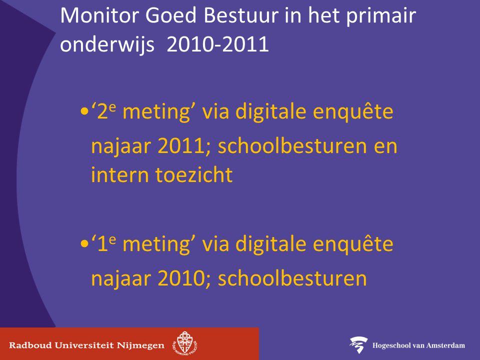 Monitor Goed Bestuur in het primair onderwijs 2010-2011 '2 e meting' via digitale enquête najaar 2011; schoolbesturen en intern toezicht '1 e meting' via digitale enquête najaar 2010; schoolbesturen