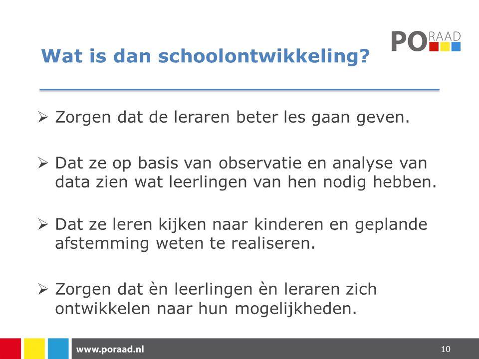Wat is dan schoolontwikkeling?  Zorgen dat de leraren beter les gaan geven.  Dat ze op basis van observatie en analyse van data zien wat leerlingen