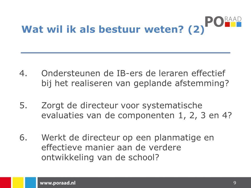 Wat wil ik als bestuur weten? (2) 4.Ondersteunen de IB-ers de leraren effectief bij het realiseren van geplande afstemming? 5.Zorgt de directeur voor