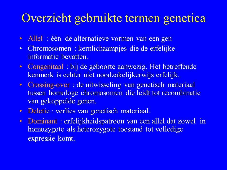 Overzicht gebruikte termen genetica Allel : één de alternatieve vormen van een gen Chromosomen : kernlichaampjes die de erfelijke informatie bevatten.