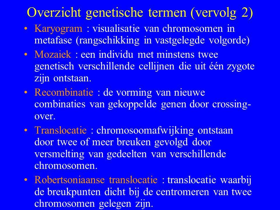 Overzicht genetische termen (vervolg 2) Karyogram : visualisatie van chromosomen in metafase (rangschikking in vastgelegde volgorde) Mozaiek : een individu met minstens twee genetisch verschillende cellijnen die uit één zygote zijn ontstaan.