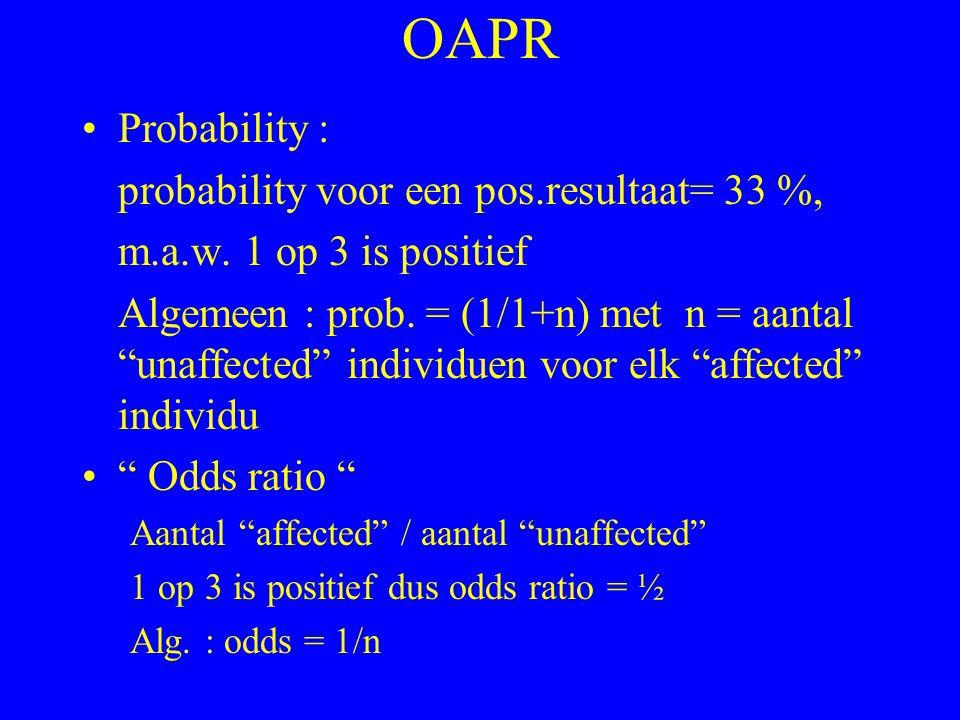"OAPR Probability : probability voor een pos.resultaat= 33 %, m.a.w. 1 op 3 is positief Algemeen : prob. = (1/1+n) met n = aantal ""unaffected"" individu"
