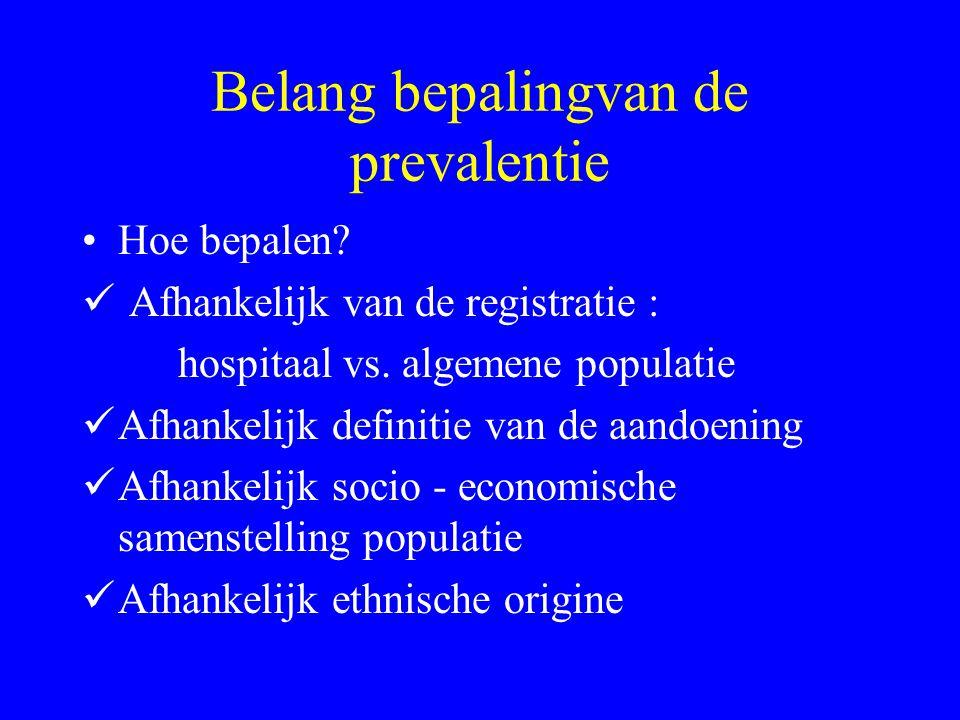 Belang bepalingvan de prevalentie Hoe bepalen? Afhankelijk van de registratie : hospitaal vs. algemene populatie Afhankelijk definitie van de aandoeni