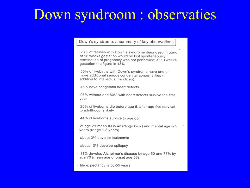 Down syndroom : observaties