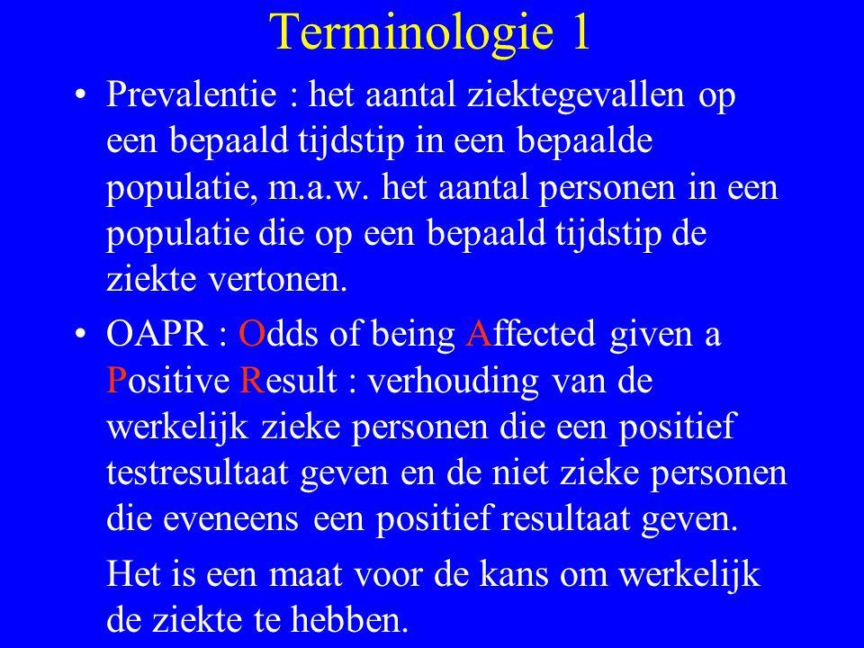 Terminologie 1 Prevalentie : het aantal ziektegevallen op een bepaald tijdstip in een bepaalde populatie, m.a.w. het aantal personen in een populatie
