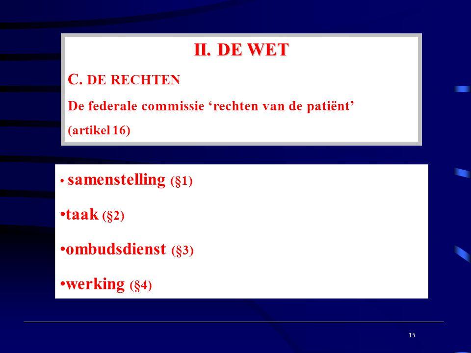 15 samenstelling (§1) taak (§2) ombudsdienst (§3) werking (§4) II.