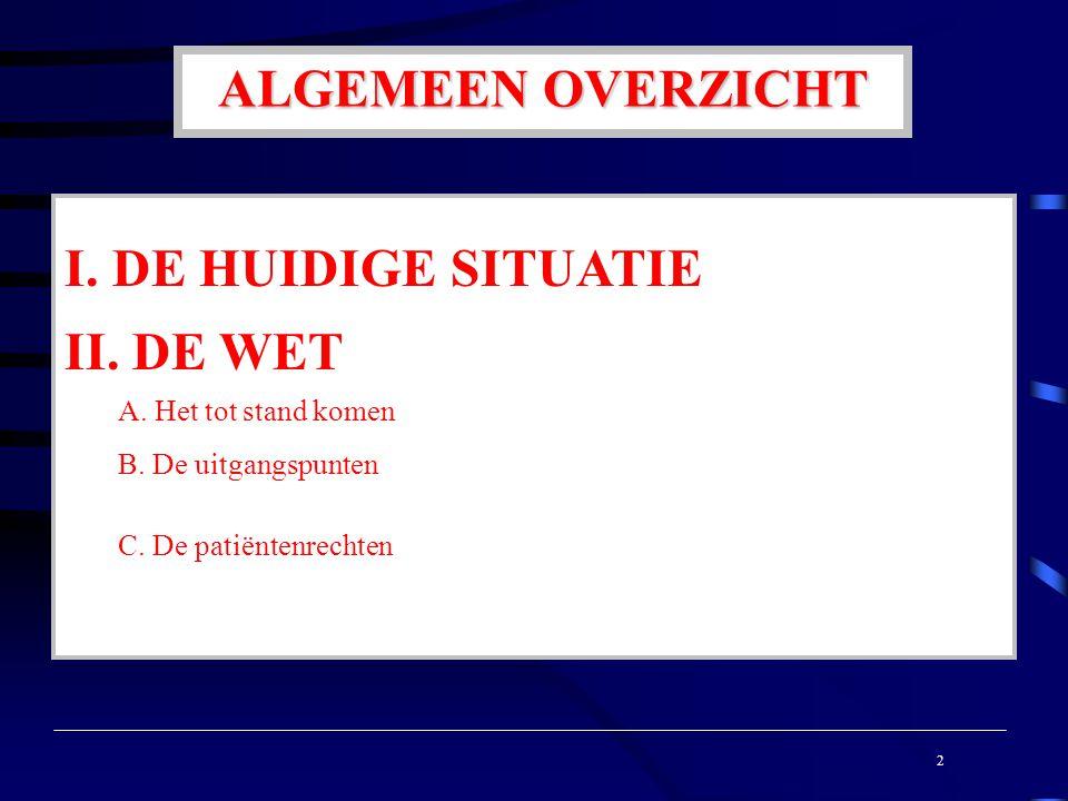 ALGEMEEN OVERZICHT I. DE HUIDIGE SITUATIE II. DE WET A.