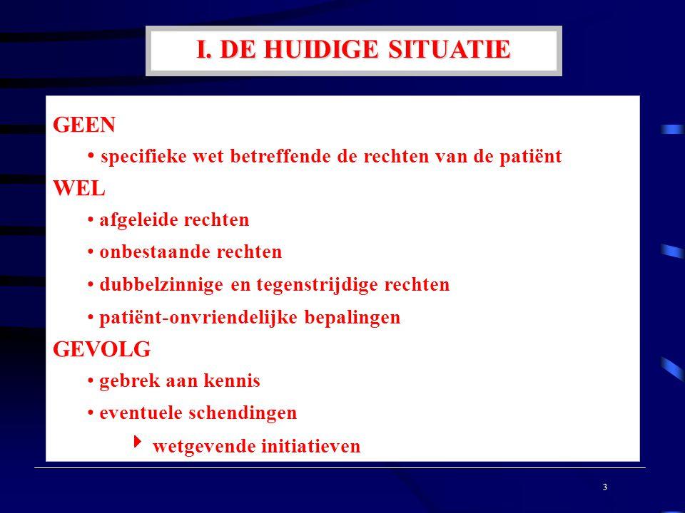 I. DE HUIDIGE SITUATIE GEEN specifieke wet betreffende de rechten van de patiënt WEL afgeleide rechten onbestaande rechten dubbelzinnige en tegenstrij
