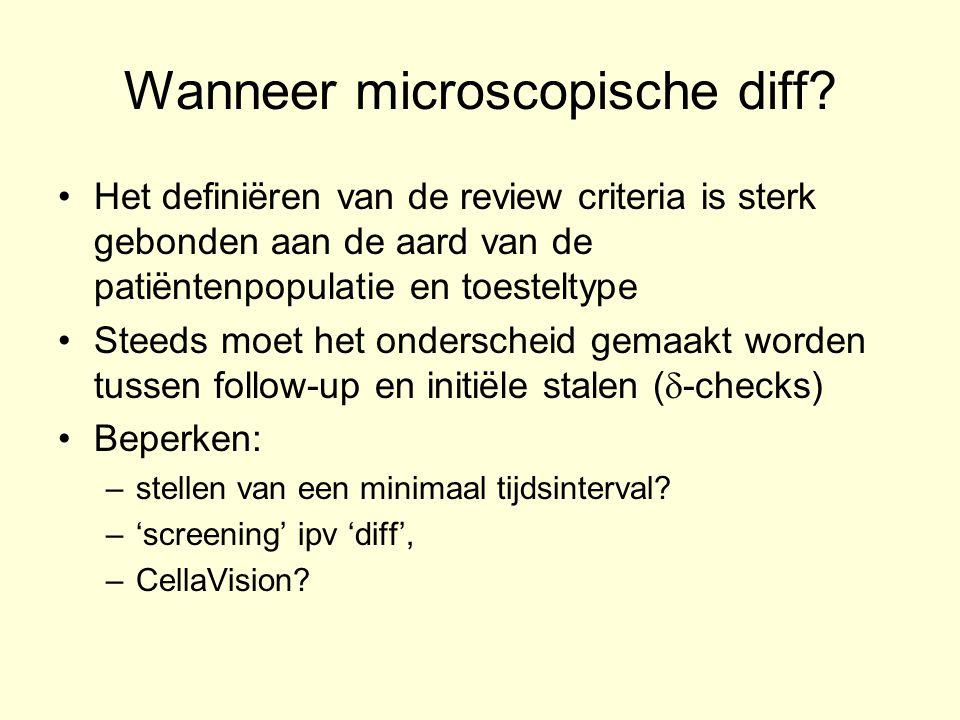 Wanneer microscopische diff? Het definiëren van de review criteria is sterk gebonden aan de aard van de patiëntenpopulatie en toesteltype Steeds moet