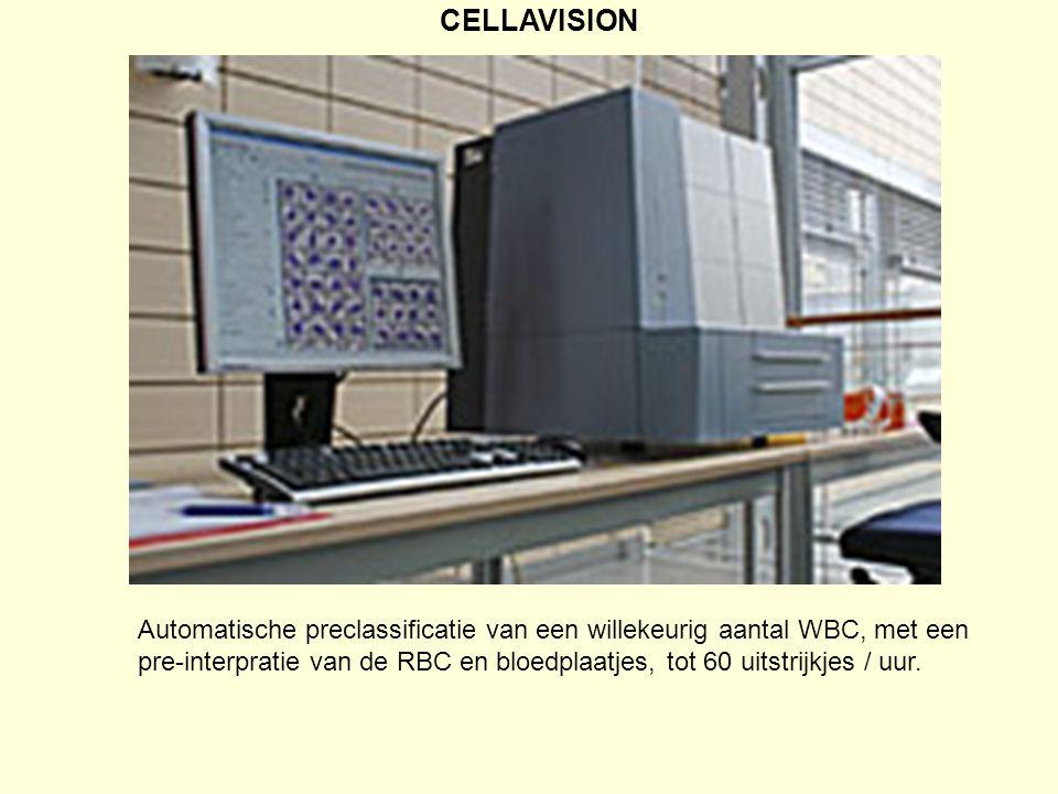 CELLAVISION Automatische preclassificatie van een willekeurig aantal WBC, met een pre-interpratie van de RBC en bloedplaatjes, tot 60 uitstrijkjes / u