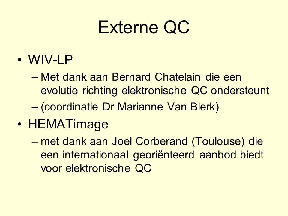Externe QC WIV-LP –Met dank aan Bernard Chatelain die een evolutie richting elektronische QC ondersteunt –(coordinatie Dr Marianne Van Blerk) HEMATima