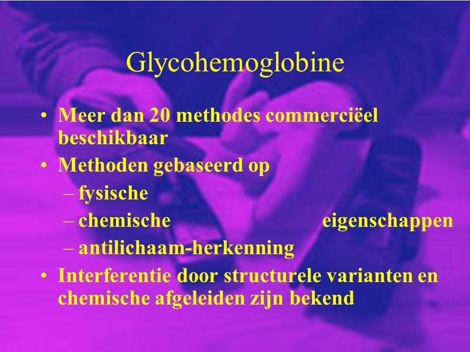 Glycohemoglobine Meer dan 20 methodes commerciëel beschikbaar Methoden gebaseerd op –fysische –chemischeeigenschappen –antilichaam-herkenning Interfer