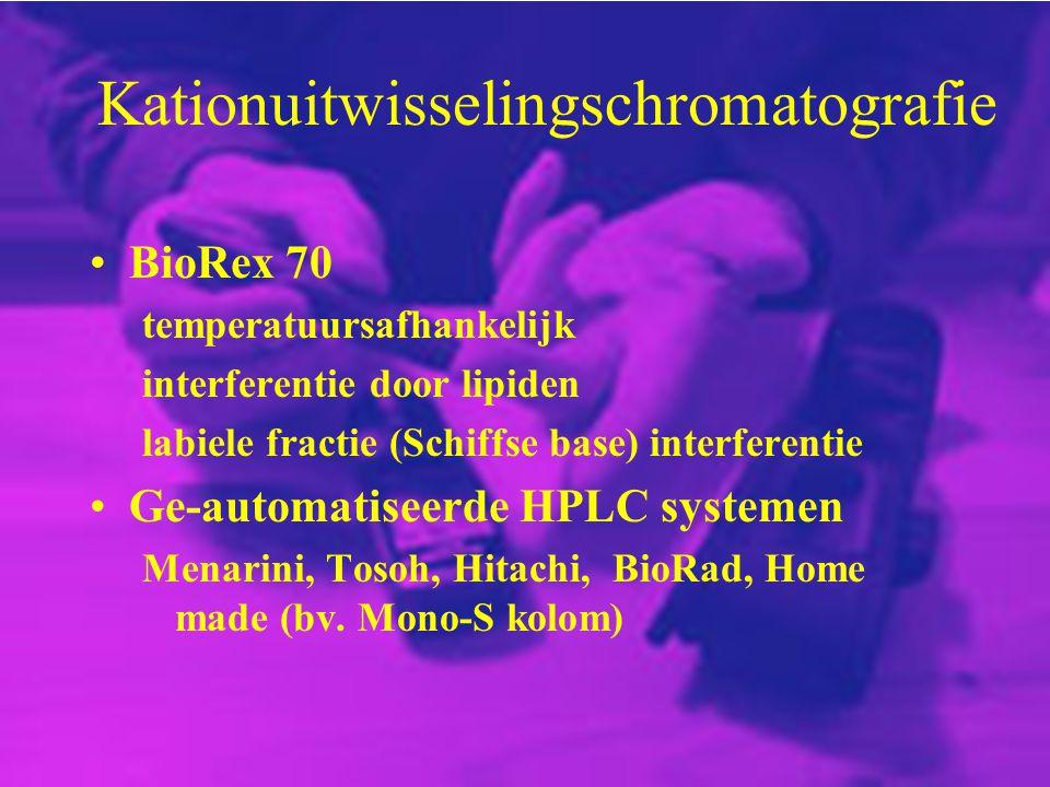 Kationuitwisselingschromatografie BioRex 70 temperatuursafhankelijk interferentie door lipiden labiele fractie (Schiffse base) interferentie Ge-automa