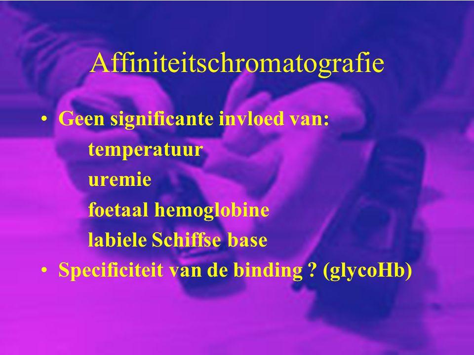Affiniteitschromatografie Geen significante invloed van: temperatuur uremie foetaal hemoglobine labiele Schiffse base Specificiteit van de binding ? (