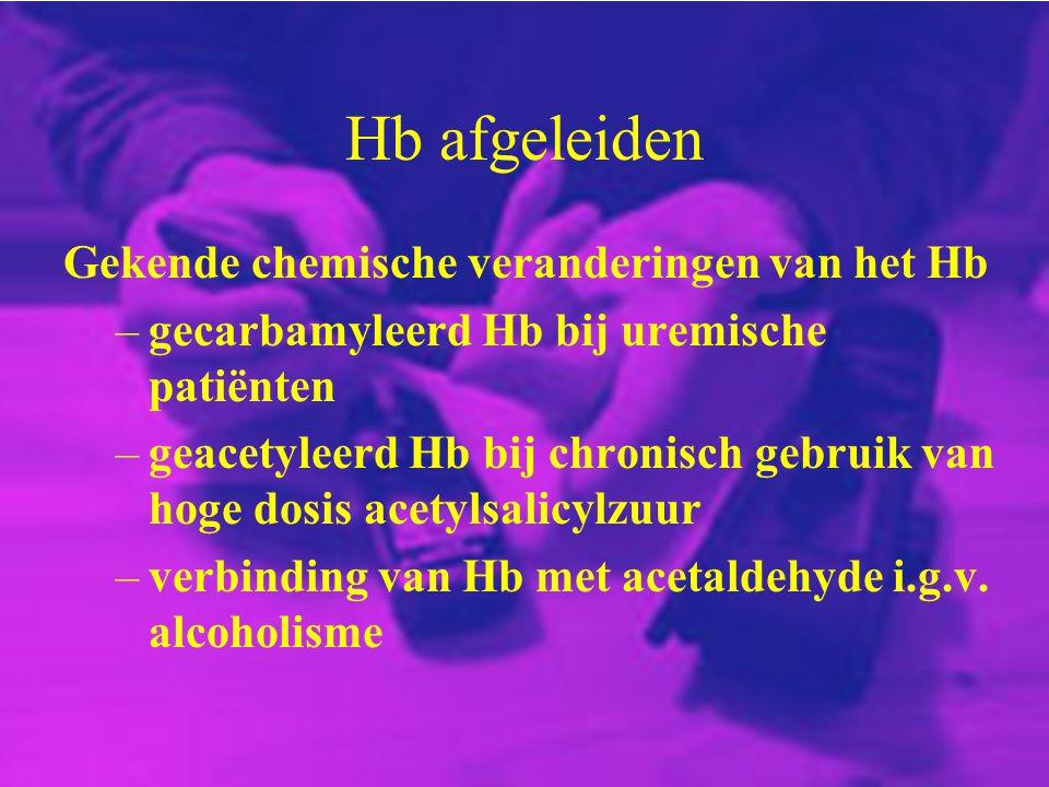 Hb afgeleiden Gekende chemische veranderingen van het Hb –gecarbamyleerd Hb bij uremische patiënten –geacetyleerd Hb bij chronisch gebruik van hoge do