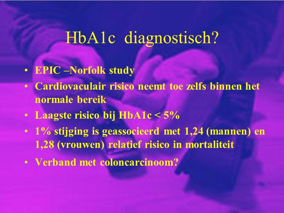 HbA1c diagnostisch? EPIC –Norfolk study Cardiovaculair risico neemt toe zelfs binnen het normale bereik Laagste risico bij HbA1c < 5% 1% stijging is g